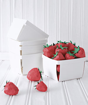 Paper construction of strawberries in basket by Matthew Sporzynski