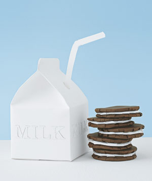 Paper construction of milk and cookies by Matthew Sporzynski