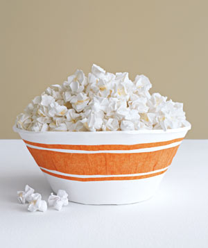 Paper construction of bowl of popcorn by Matthew Sporzynski