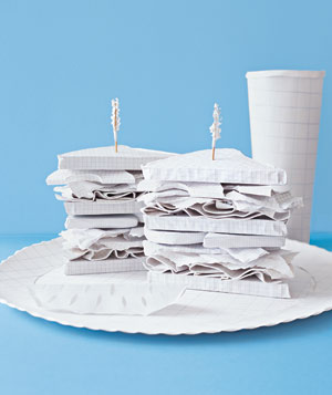 Paper construction of sandwiches and pickle on plate by Matthew Sporzynski