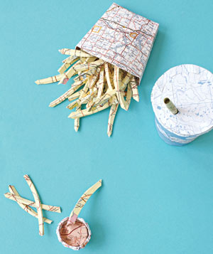 Paper construction of french fries and soda by Matthew Sporzynski