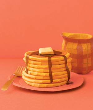 Paper construction of pancakes on plate with fork by Matthew Sporzynski
