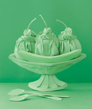 Paper construction of ice cream sundae by Matthew Sporzynski