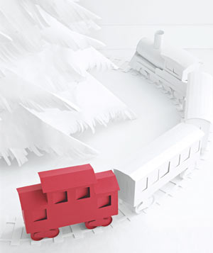 Paper construction of a toy train running around Christmas tree by Matthew Sporzynski