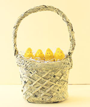 Paper construction of Peeps in basket by Matthew Sporzynski