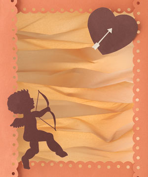 Paper construction of Cupid with bow and arrow by Matthew Sporzynski