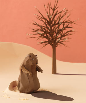 Paper construction of Groundhog Day by Matthew Sporzynski