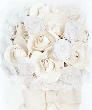 Paper construction of a wedding bouquet by Matthew Sporzynski