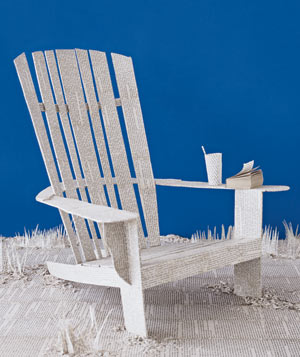 Paper construction of a beach chair by Matthew Sporzynski