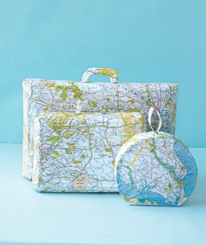 Paper construction of luggage by Matthew Sporzynski