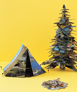 Paper construction of campgrounds by Matthew Sporzynski