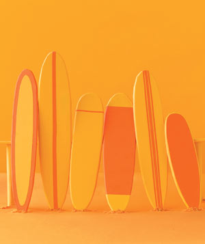 Paper construction of surfboards by Matthew Sporzynski