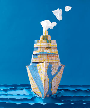 Paper construction of a cruise ship by Matthew Sporzynski