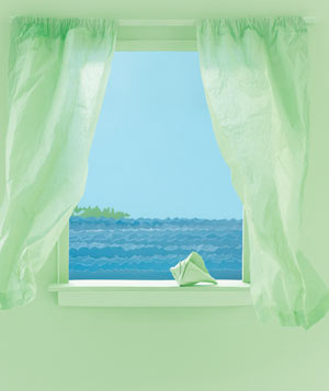 Paper construction of an ocean view from window by Matthew Sporzynski