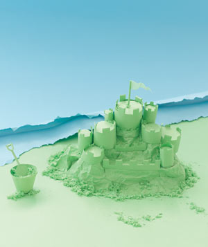 Paper construction of a sandcastle by Matthew Sporzynski