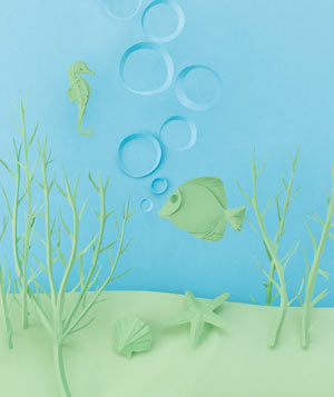 Paper construction of an underwater scene by Matthew Sporzynski