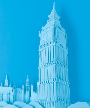 Paper construction of Big Ben by Matthew Sporzynski