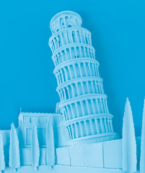 Paper construction of the Leaning Tower of Pisa by Matthew Sporzynski
