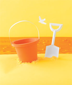 Paper construction of a sand bucket and shovel by Matthew Sporzynski
