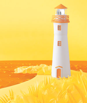 Paper construction of a lighthouse by Matthew Sporzynski