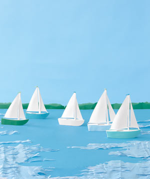 Paper construction of sailboats by Matthew Sporzynski