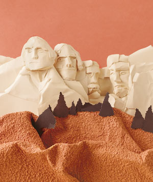 Paper construction of Mount Rushmore by Matthew Sporzynski