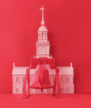 Paper construction of Independence Hall and Liberty Bell by Matthew Sporzynski