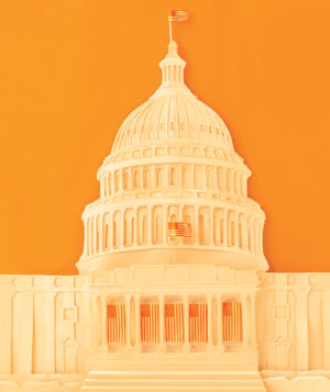 Paper construction of the United States Capitol by Matthew Sporzynski