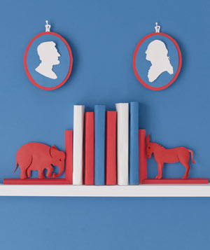 Paper construction of bookshelf with donkey and elephant by Matthew Sporzynski