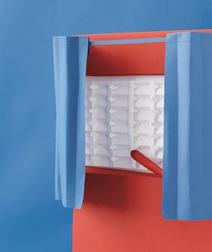 Paper construction of a voting booth by Matthew Sporzynski