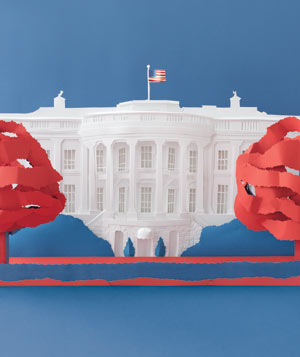 Paper construction of The White House by Matthew Sporzynski