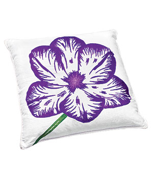 Linen pillow with embroidered purple tulip