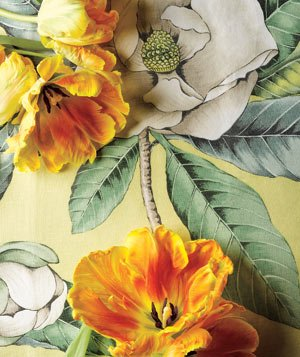 Flowers on a floral tablecloth