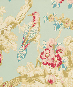 Bird in the Bush floral wallpaper
