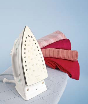 Iron, ironing board, and clothing