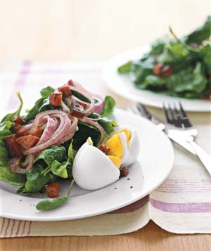 Spinach Salad With Warm Onions and Crispy Salami