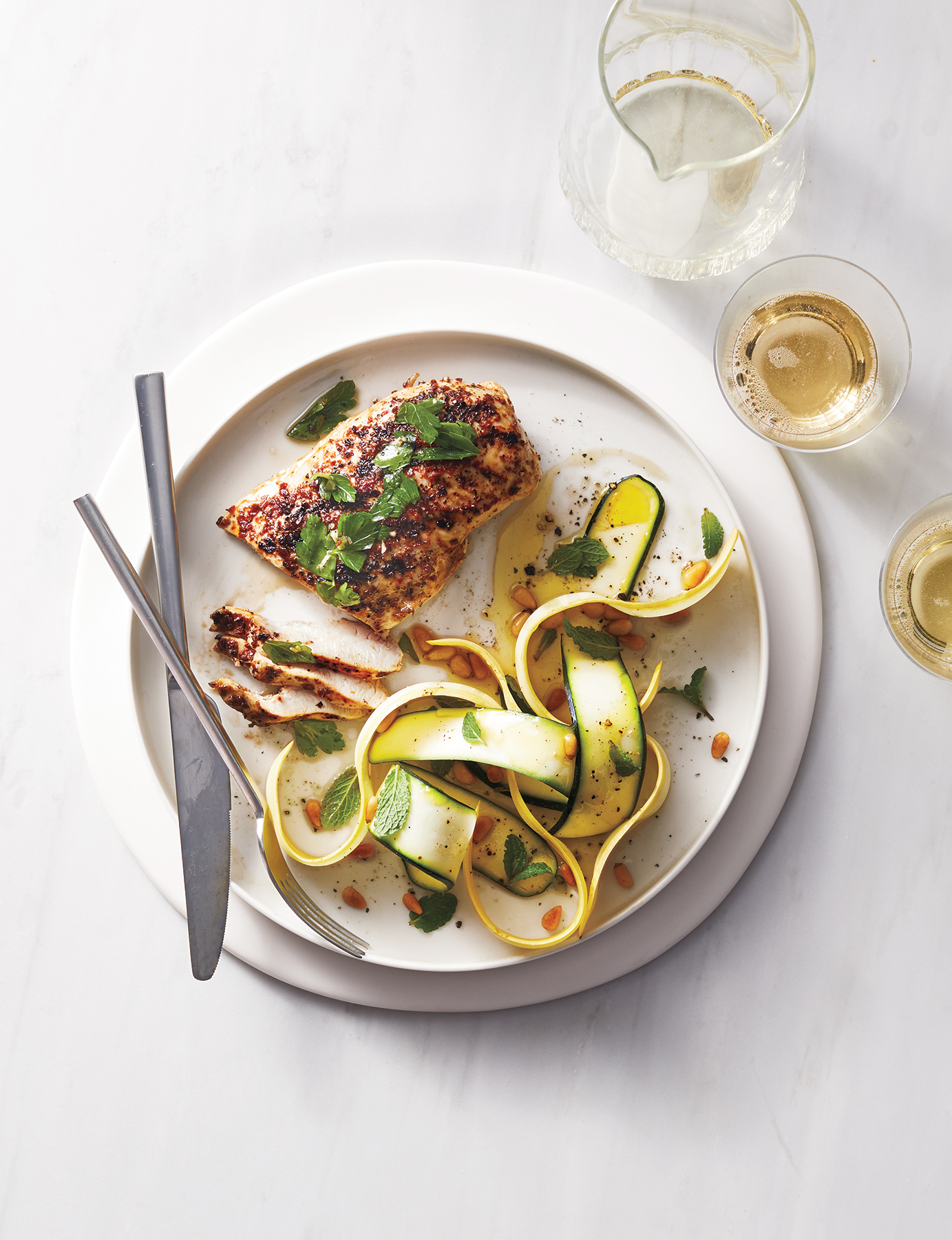 Spicy Grilled Chicken With Shaved Zucchini Salad