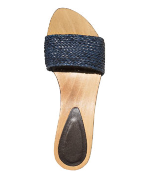 Rattan and Wood clogs by Strenesse Blue