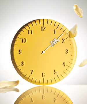 Yellow Clock with past and future on hour hand designed by Harry Allen