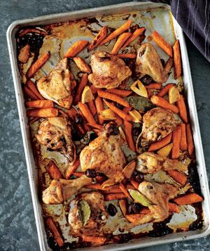 Roasted Chicken and Carrots With Olives and Lemons