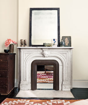 Mirror inside a fireplace