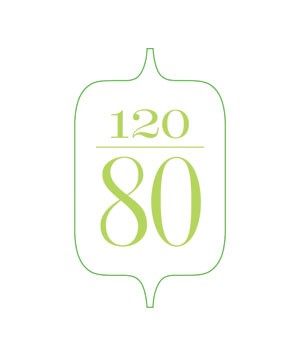 Illustration of the number 120 over 80
