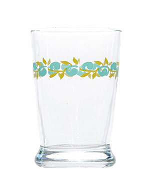 Curled Teal Floral Juice Glass by Fishs Eddy