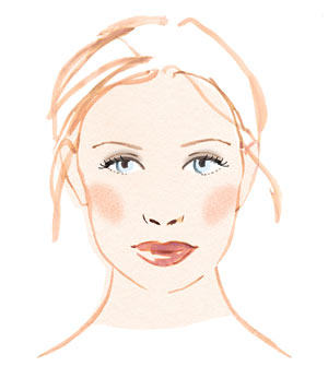Illustration of woman with full, natural makeup