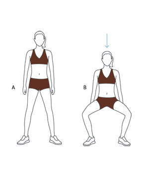Illustration of wide-stance squat