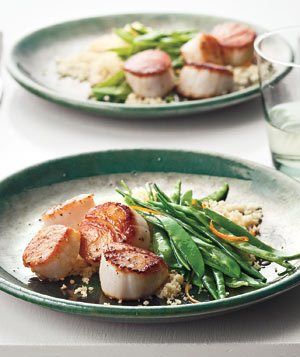 Seared Scallops With Snow Peas and Orange Recipe