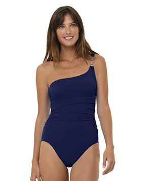 Tummy Control Solid One Shoulder Tank Swimsuit by Lands' End