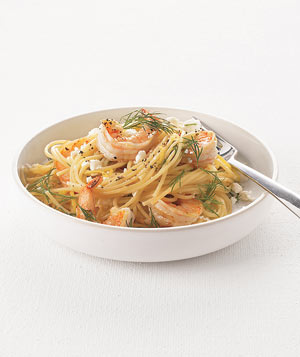 Spaghetti With Shrimp, Feta, and Dill