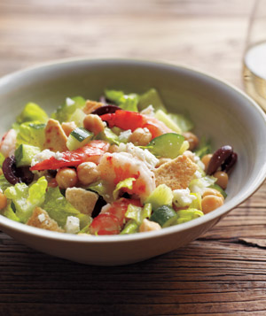 Mediterranean Chopped Salad With Shrimp and Chickpeas
