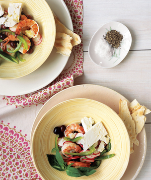25 easy no cook recipes real simple marinated shrimp with mediterranean salad forumfinder Choice Image